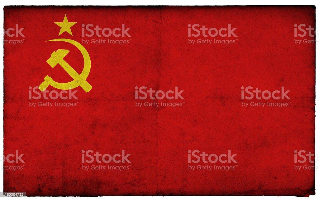 Grunge Former Soviet Union Flag on rough edged old postcard stock photo