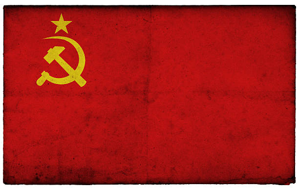 Grunge Former Soviet Union Flag on rough edged old postcard stock photo