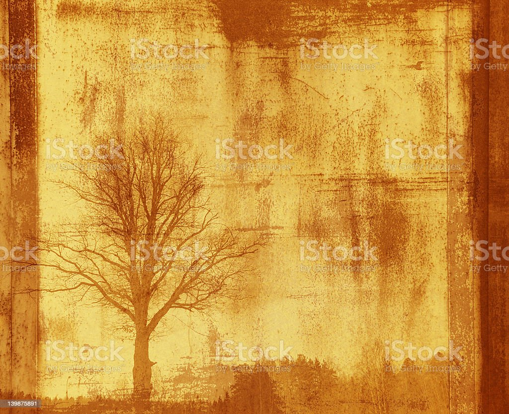 grunge frame with tree silhouette royalty-free stock photo
