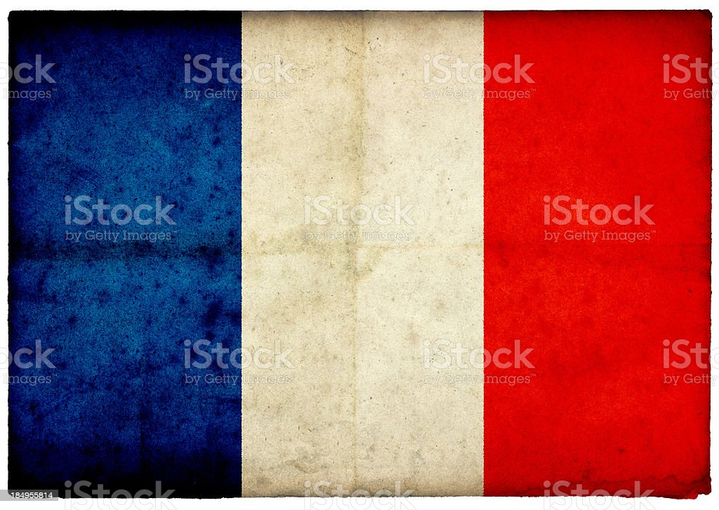 Grunge French Flag on rough edged old postcard stock photo