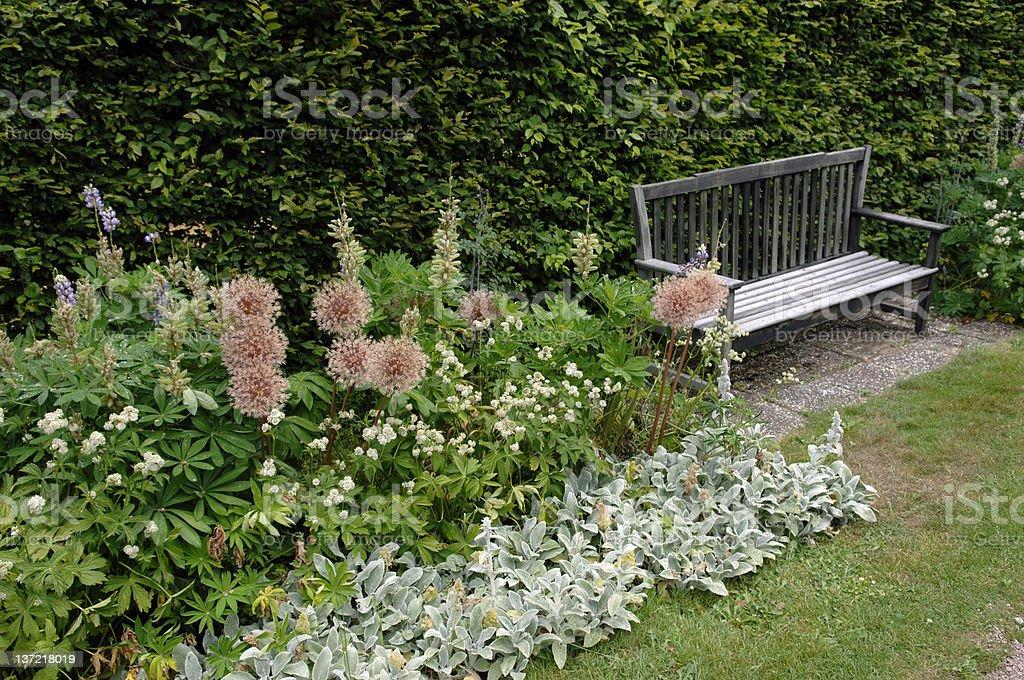 grunge garden bench stock photo