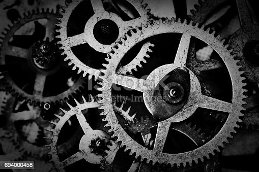 istock Grunge gear, cog wheels black and white background. Industrial, science 694000458