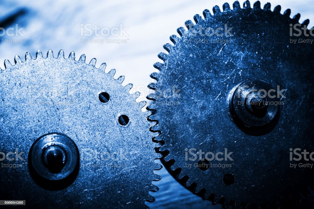 Grunge gear, cog wheels. Concept of industrial, science stock photo