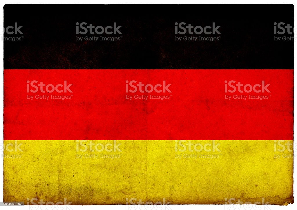 Grunge German Flag on rough edged old postcard royalty-free stock photo