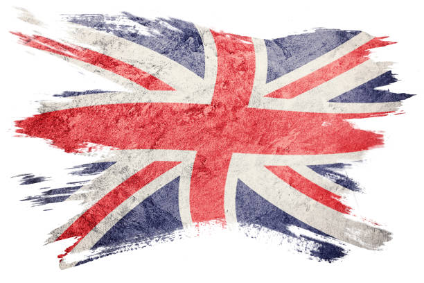 Grunge Great Britain flag. Union Jack flag with grunge texture. Brush stroke. stock photo
