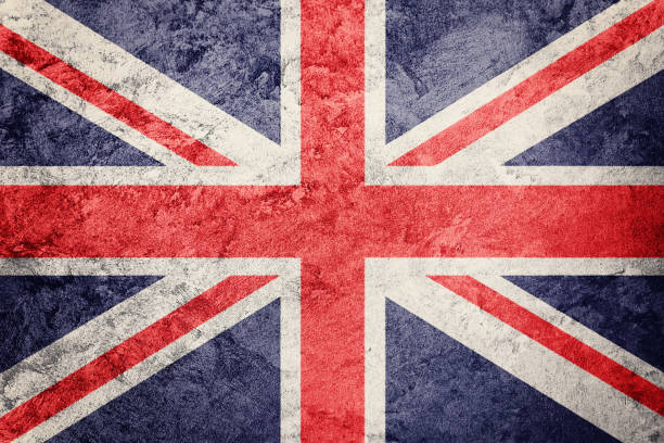 Grunge Great Britain flag. Union Jack flag with grunge texture. stock photo