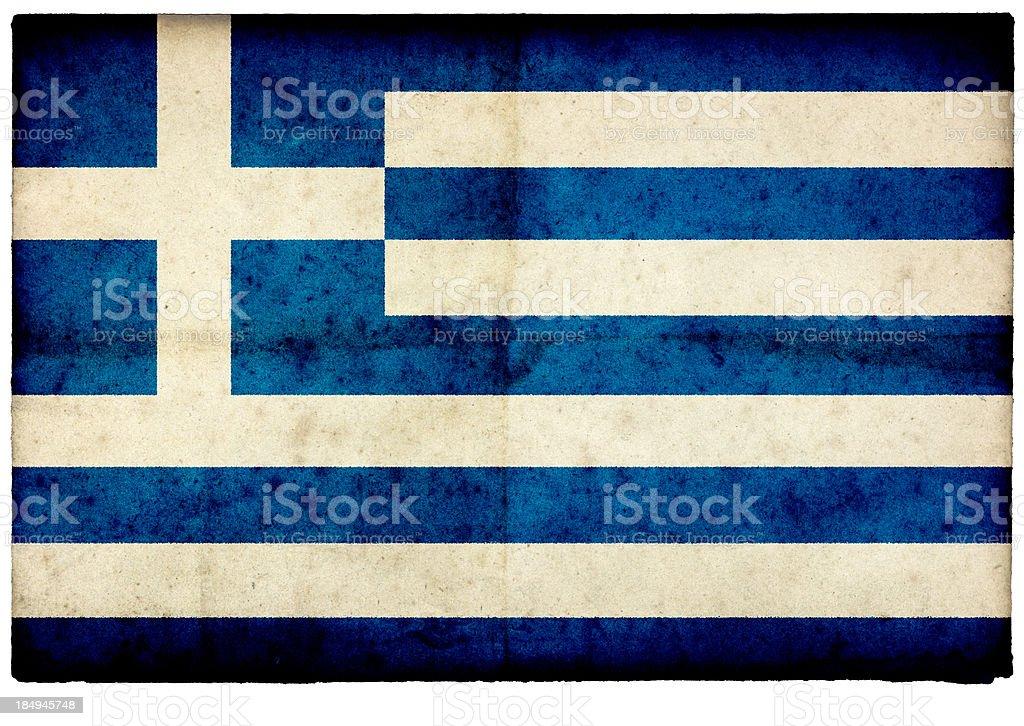 Grunge Greek Flag on rough edged old postcard stock photo