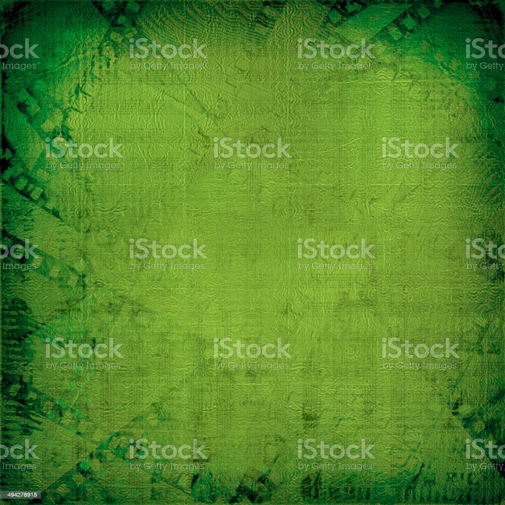 Grunge green background with ancient digital ornament stock photo