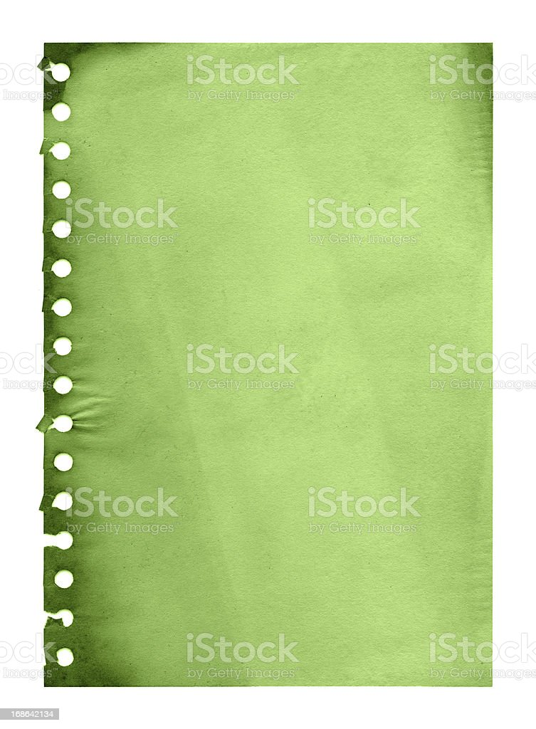 Grunge green notepad page paper textured background royalty-free stock photo