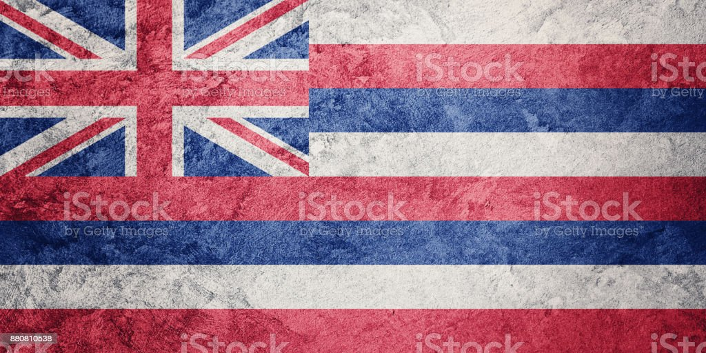 Bandeira de estado de Havaí grunge. Bandeira de Havaí fundo textura grunge. - foto de acervo