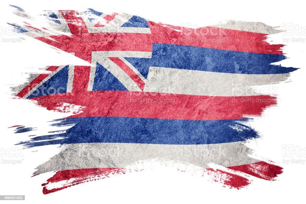 Bandeira de estado de Havaí grunge. Bandeira de Havaí escova derrame. - foto de acervo