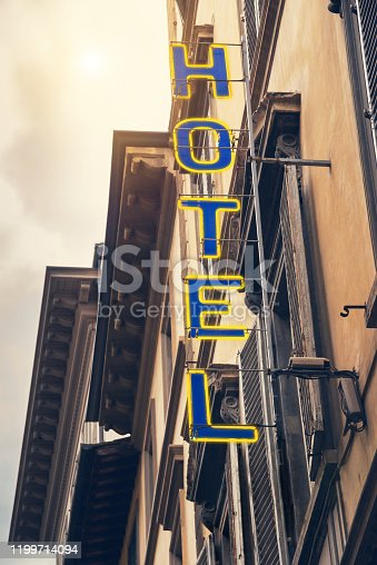 Grunge Hotel sign in Florence, Italy