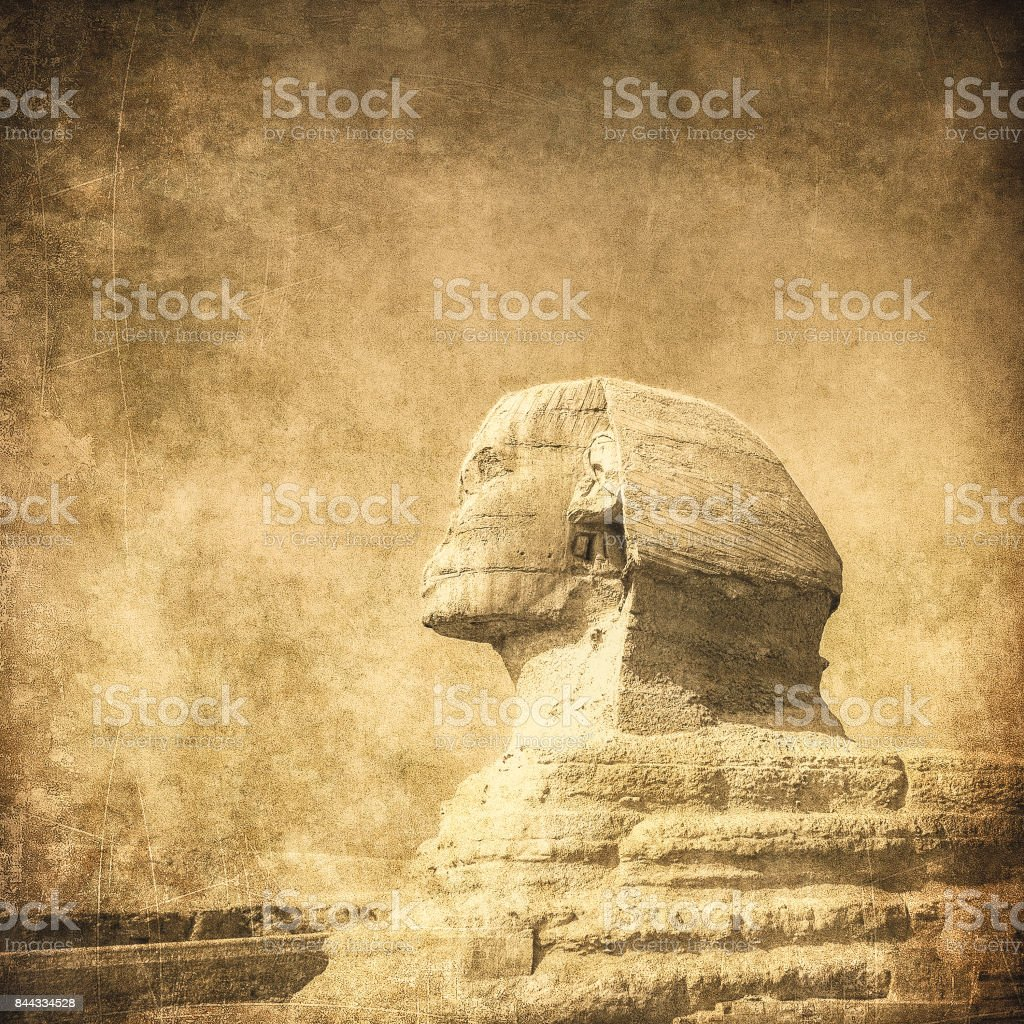 grunge image of sphynx and pyramid stock photo