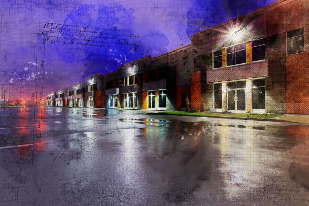 Grunge Industrial Condos at Night stock photo