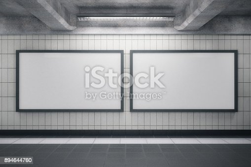 istock Grunge interior with blank posters 894644760