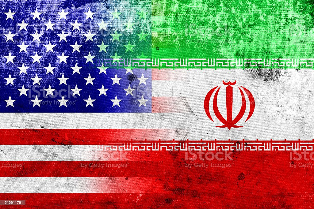 Grunge Iran and USA Flag stock photo