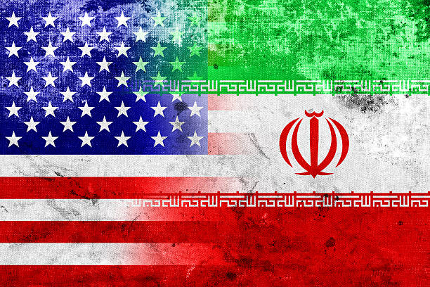 Grunge Iran and USA Flag Grunge Iran and USA Flag iran stock pictures, royalty-free photos & images