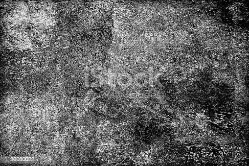 istock Grunge is black and white. The dark background is covered with dirt, stains and scratches. Worn surface texture pattern 1136080022
