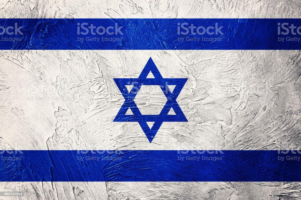 Grunge 以色列國旗。以色列國旗與 grunge 紋理。 免版稅 stock photo