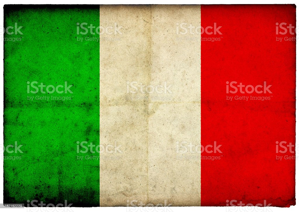 Grunge Italian Flag on rough edged old postcard stock photo