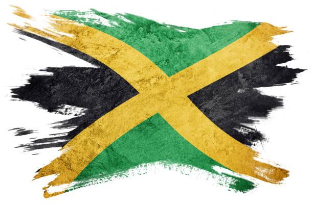 Grunge Jamaica flag. Jamaica flag with grunge texture. Brush stroke. stock photo