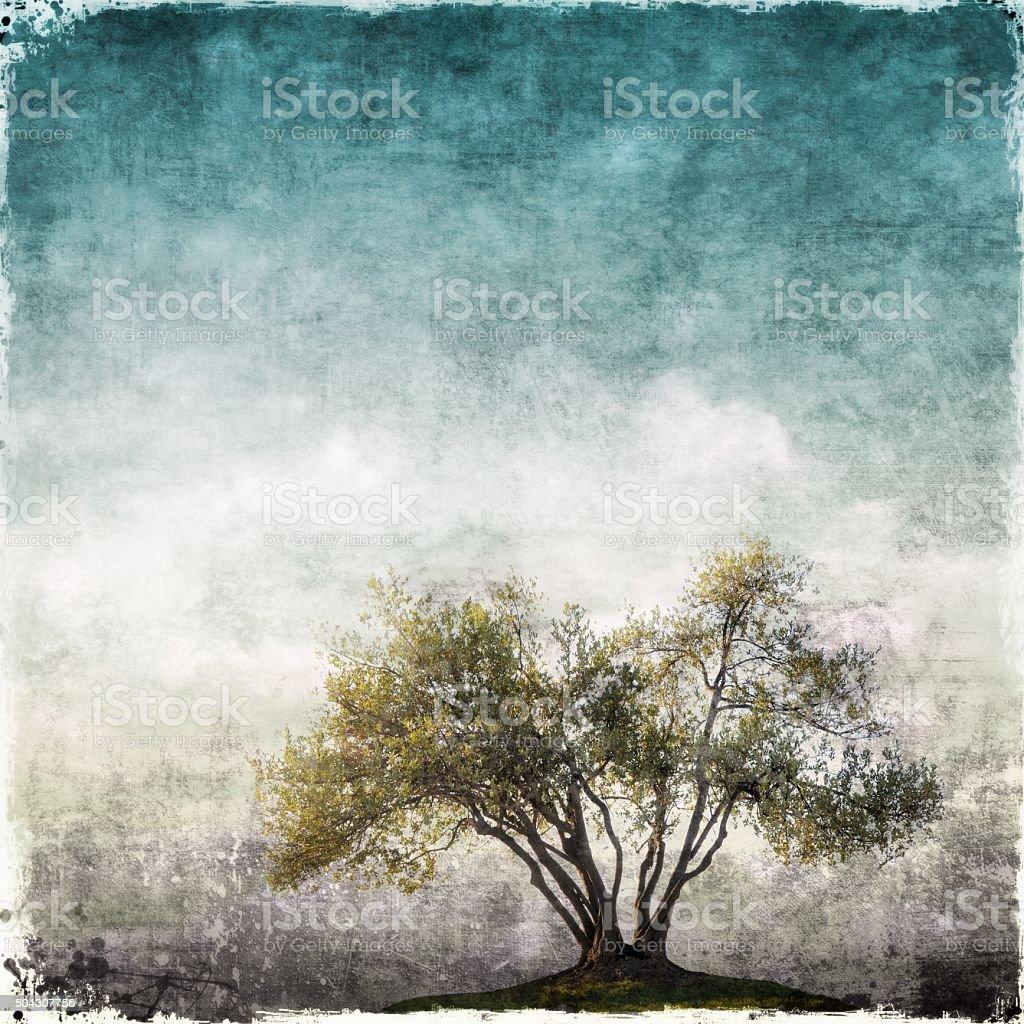 Paysage de Grunge avec un seul arbre - Photo