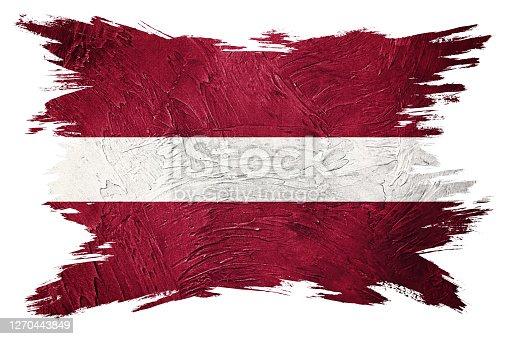 Grunge Latvia flag. Latvia flag with grunge texture. Brush stroke.