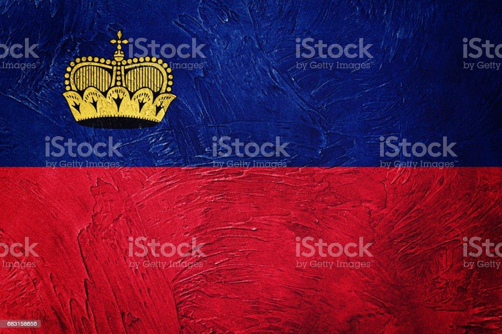 Grunge Liechtenstein flag. Liechtenstein flag with grunge texture. 免版稅 stock photo