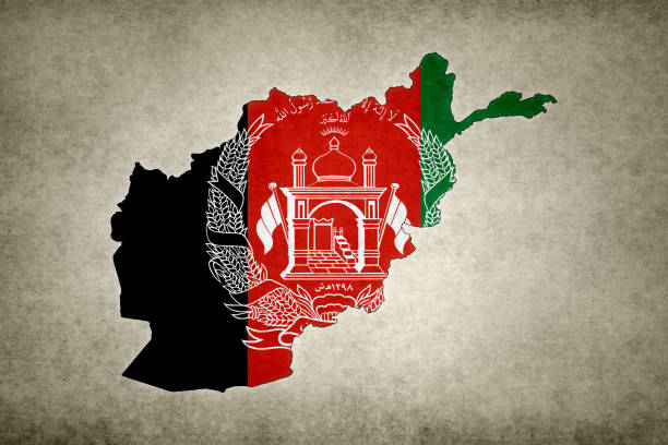 Grunge map of Afghanistan with its flag printed within stock photo