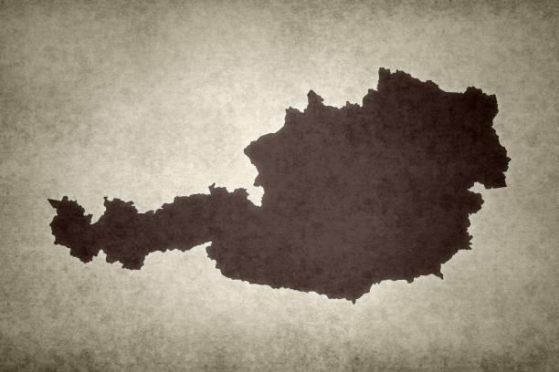 Grunge map of Austria stock photo