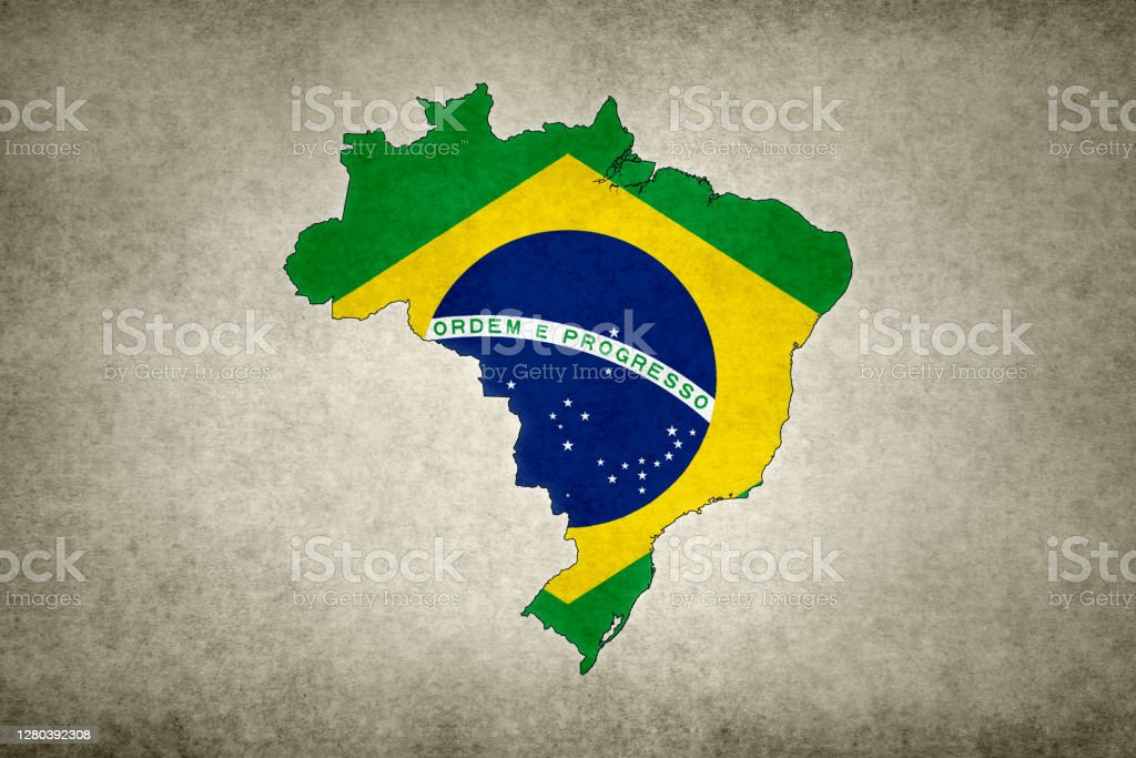 Grunge map of Brazil with its flag printed within Grunge map of Brazil with its flag printed within its border on an old paper. Abstract Stock Photo