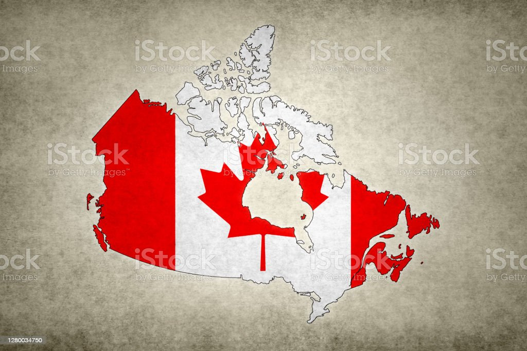 Grunge map of Canada with its flag printed within Grunge map of Canada with its flag printed within its border on an old paper. Abstract Stock Photo