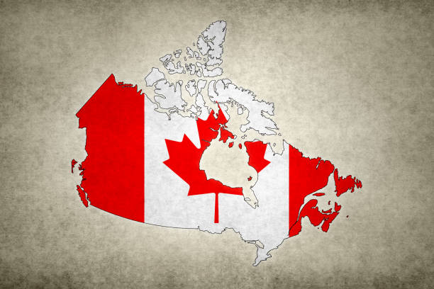 Grunge map of Canada with its flag printed within stock photo
