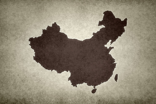 Grunge Map Of China Stock Photo - Download Image Now