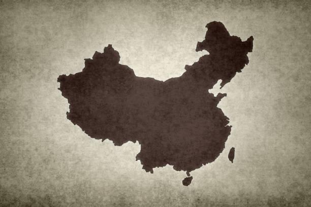 Grunge map of China stock photo