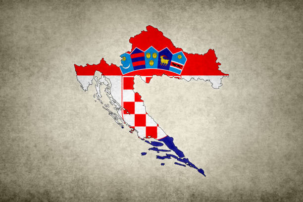 Grunge map of Croatia with its flag printed within stock photo