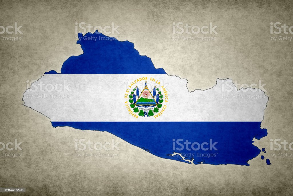 Grunge map of El Salvador with its flag printed within Grunge map of El Salvador with its flag printed within its border on an old paper. Abstract Stock Photo