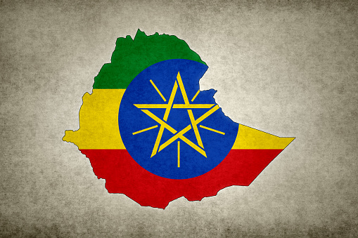 Grunge Map Of Ethiopia With Its Flag Printed Within Stock Photo - Download Image Now