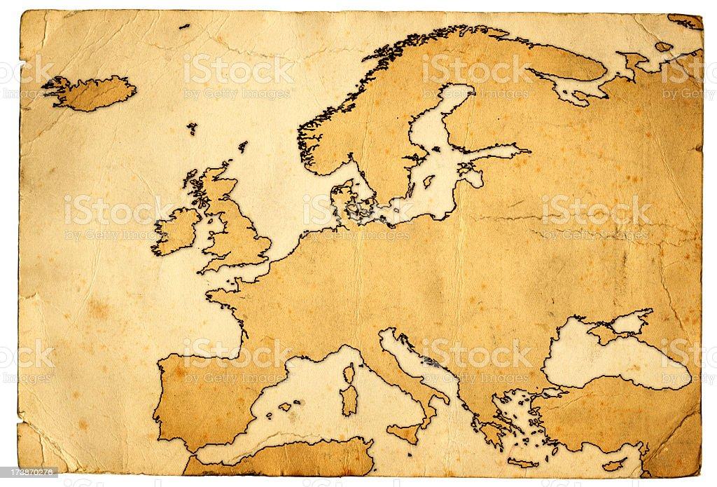 Grunge Map of Europe royalty-free stock photo