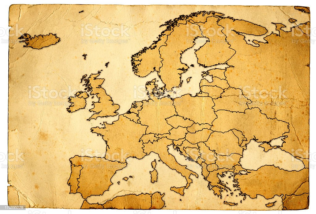 Grunge Map of Europe royalty-free stock photo