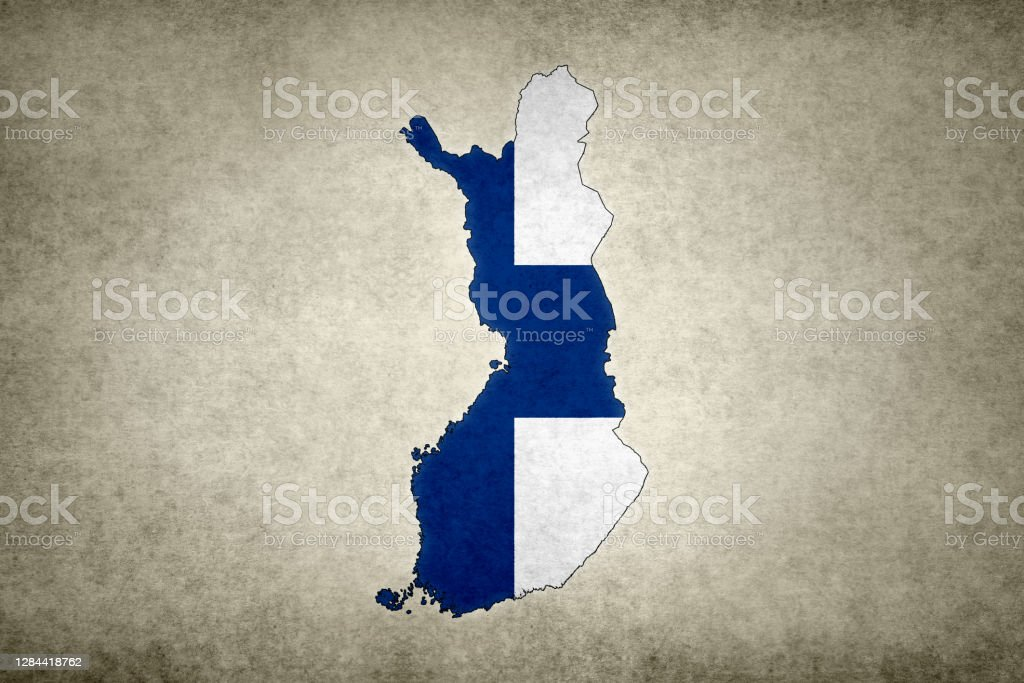 Grunge map of Finland with its flag printed within Grunge map of Finland with its flag printed within its border on an old paper. Abstract Stock Photo