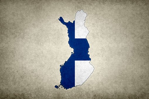 Grunge Map Of Finland With Its Flag Printed Within Stock Photo - Download Image Now