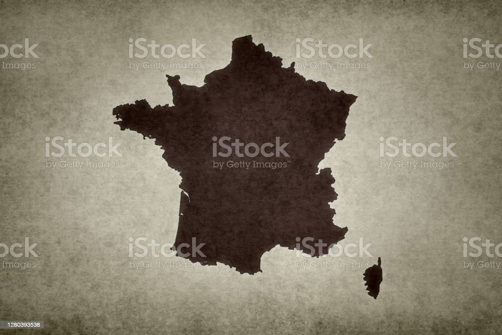 Grunge map of France Grunge map of France printed on an old paper. Abstract Stock Photo