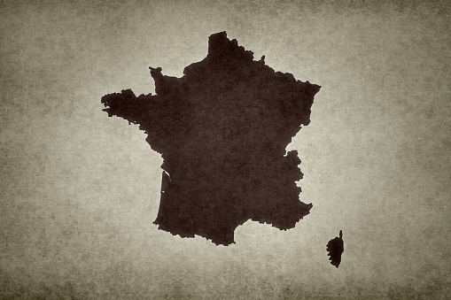Grunge Map Of France Stock Photo - Download Image Now