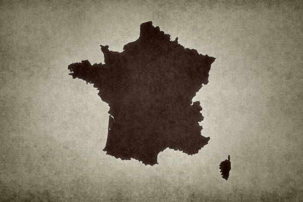 Grunge map of France stock photo