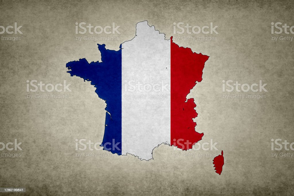Grunge map of France with its flag printed within Grunge map of France with its flag printed within its border on an old paper. Abstract Stock Photo