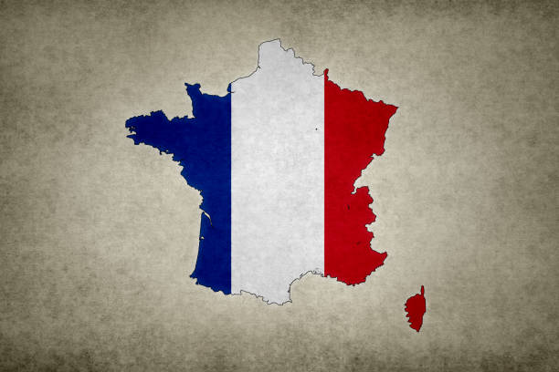 Grunge map of France with its flag printed within stock photo