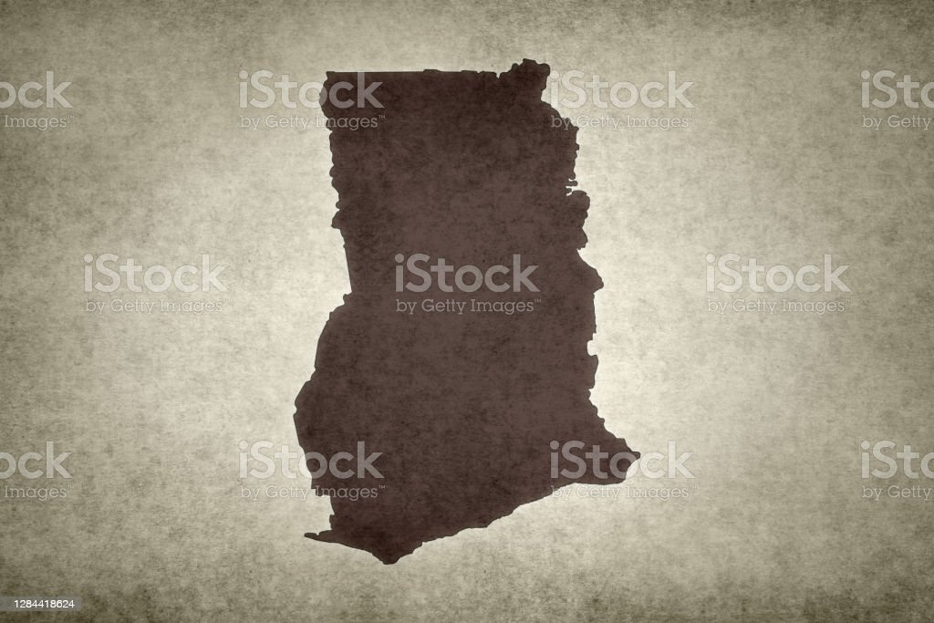 Grunge map of Ghana Grunge map of Ghana printed on an old paper. Abstract Stock Photo