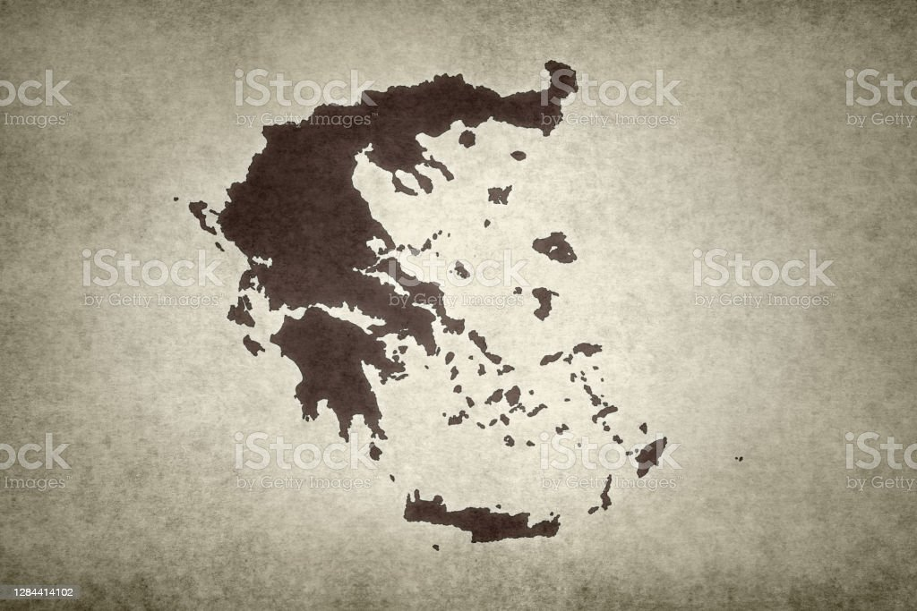 Grunge map of Greece Grunge map of Greece printed on an old paper. Abstract Stock Photo