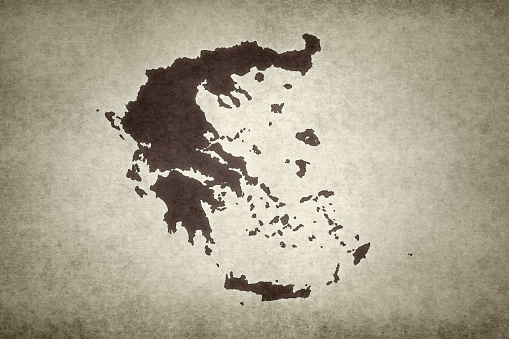 Grunge Map Of Greece Stock Photo - Download Image Now